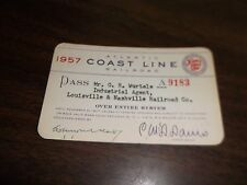 1957 ATLANTIC COAST LINE ACL RAILROAD EMPLOYEE PASS