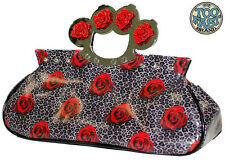 CLUTCH/PURSE -TOO FAST ROSE & LEOPARD KNUCKLE BAG - MAGNETIC CLOSURE - NEW