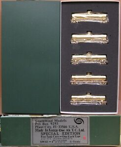 SouthWind Models UP/AT&SF/SP/WP/SWSE 50' Tank Car 5-PACK *BRASS* S-Scale NOS