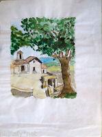 Acquerello '900 su carta Watercolor-Casolare di campagna con albero- (103)