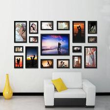 Family Black 17 PCS Square Photo Frame Wood Made Wall Mounted Art Home Decor Set