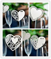 Ivory Vary Style Heart Place Cards Glass Laser Cut on Pearlescent Wedding Party