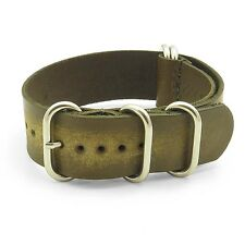StrapsCo Distressed Faded Vintage Leather Mens Watch Band Strap