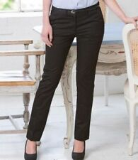Straight Leg Cotton Mid Rise Trousers for Women