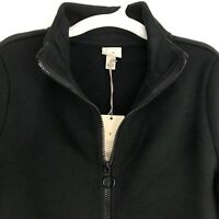 A New Day Womens Size Small Fleece Jacket  Zip Front Black with Collar & Pockets