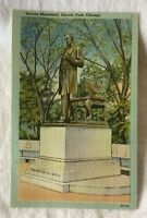 New Tichnor Bros. Linen Postcard Lincoln Monument, Lincoln Park Chicago