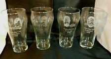 Tiara COCA COLA Calendar Girl Soda Fountain Glasses (4) Limited Edition NOS