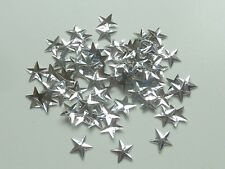 100 APPROX SILVER COLOURED SHIMMERING METALLIC SEQUIN STARS