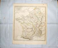 Original Old Antique Print Walker Map 1831 Ancient France Europe Biscay 19th