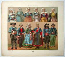 VINTAGE 1800's Color Costume Plate, Fashions of France, Fashion, Design, 016