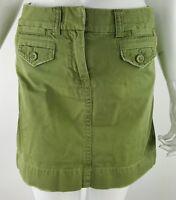 J. Crew Womens Sz 0 Army Green Distressed Mini Cargo Skirt EUC 100% Cotton
