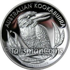 Australia 2012 Kookaburra $1 High Relief 1 Oz Pure Silver Dollar Proof Piedfort
