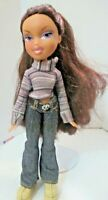 BRATZ DOLL LONG AUBURN HAIR STRIPED TOP JEANS SKIRT & BOOTS