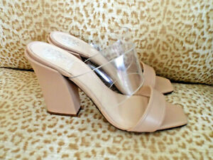 NEW***VINCE CAMUTO Sz 10M slide SANDALS biscuit/clear!!