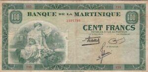 MARTINIQUE : RARE 100 FRANCS 1942 - P.19
