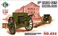 "UMT 624 3"" Field Gun Model 1902 Scale Plastic Model Kit 1/72"