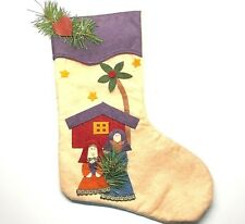 Vintage Handcrafted Felt Applique Christmas Stocking Religious Bible Characters