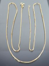 VINTAGE 18ct GOLD BOX LINK NECKLACE CHAIN 25 1/2 inch C.1990
