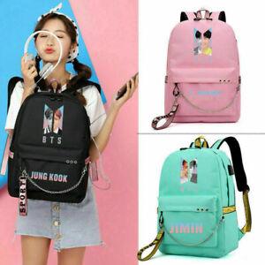 Women Backpack Kpop BTS Bangtan Boy School Book Travel Shoulder Bag With USB
