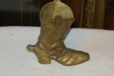 8 1/2 ' Tall Brass Cowboy Boot With Spurs Pen & Pencil Holder For Your Desk