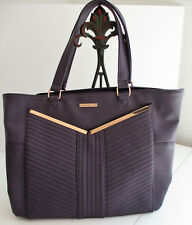 Rampage Quilted Tote Bag Purse- Plum Purple with gold trim