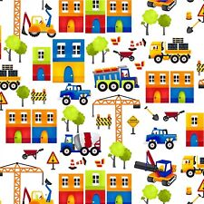 Henry Glass My Favorite Truck Construction Building White Cotton Fabric 2205