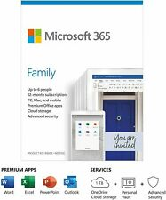 Microsoft Office 365 Home Family - 1 Year Subscription - 6 Users - PC/Mac/Phone