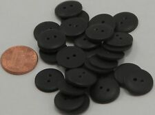 """Lot of 24 Matte Domed Top Black Plastic Buttons Almost 5/8"""" 15mm  # 6603"""