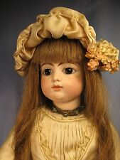 Pretty 19 **Antique French Doll**  F 8 G  ~ French ~ Silk/Lace Dress