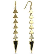 ROMAN LUXE x Boy Meets Girl 14k Gold-Plated Pave Spike Linear Drop Earrings $90