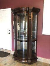 Curio Victorian With Ilumination Bow Glass Curio Vitrine Cabinet