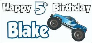 Monster Truck 4x4 5th Birthday Banner X2 Party Decorations Boys Son Kid ANY NAME