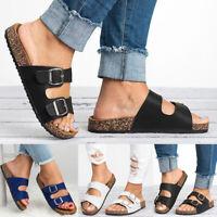 Women's Buckle T-Strap Cork Slide Footbed Platform Flip Flop Shoes Sandals New