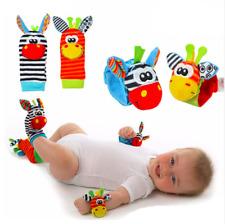 4 PCS Cute Animal Infant Baby Kids Hand Wrist Bells Foot Sock Rattles Soft Toys