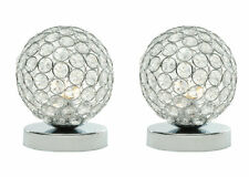 2 x Modern Chrome And Acrylic Crystal Touch Table or Bedside Lamp Light