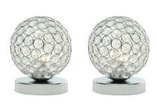 2 x moderna cromo e acrilico Crystal Touch tavola o da comodino lampada luce