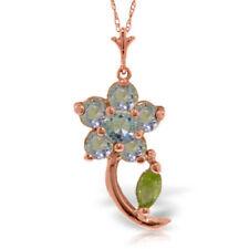 Genuine Aquamarine & Peridot Gemstones Flower Pendant Necklace In 14K Solid Gold