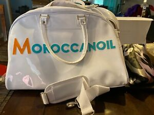 Moroccan Oil Large White Vinyl Tote Gym Overnight Travel Duffle Bag