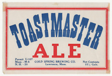 Cold Spring Brewing Toastmaster Ale Label Irtp U# Lawrence Ma
