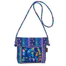 Mythical Dogs Laurel Burch Small Canvas Purse Crossbody Tote Handbag Purple Blue