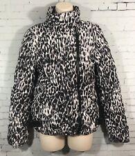 Marc New York Performance Puffer Coat Women's Small Leopard Print Asymmetric Zip