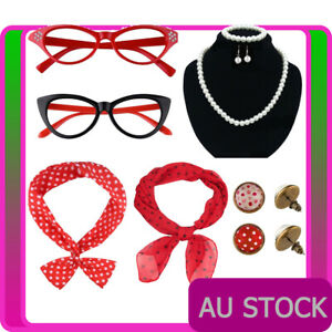 1950s Womens Costume Accessories 50s Grease Scarf Headband Glasses Earring Set