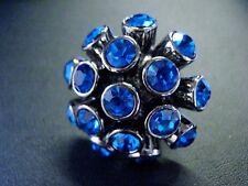 Huge Blue Crystal Sparkling Cluster Statement Ring size L Small US 6