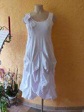 BORIS INDUSTRIES Raff Kleid mit Blume 46 48 (4) NEU! weiß  A-Form LAGENLOOK