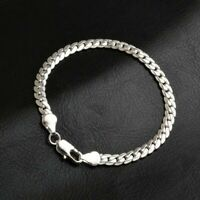 Lady 925 Solid Silver Bracelet Fashion Jewelry Women 5MM Snake Chain Bangle Gift
