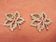 Vintage PAIR (2) ORA Rhinestone leaf PINS BROOCH Silver tone MATCHING Exc!