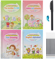 4 x Colorful Magic Calligraphy Practice Handwriting Copybook for Kids Xmas Gifts
