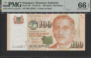 TT PK 50i ND (2018) SINGAPORE MONETARY AUTHORITY 100 DOLLARS PMG 66 EPQ GEM UNC.