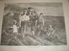 return from labour by W Fyfe 1871 old print