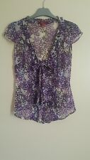 Monsoon See Thru Shirt/ Blouse Purple Blue Bow Short Sleeve Spot Work Size 8
